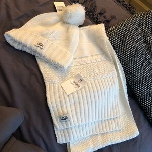 Ugg white hat and matching scarf
